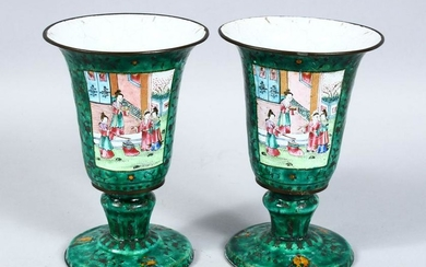 A GOOD PAIR OF 19TH CENTURY CHINESE CANTON ENAMEL