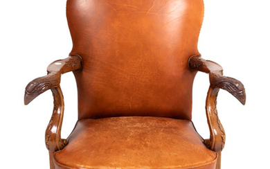 A George II Style Leather Upholstered Mahogany Executive Chair