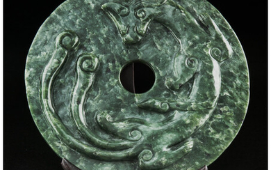 A Large Chinese Carved Spinach Jade Bi Disc