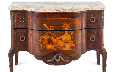 A Louis XV/XVI Transitional Style Gilt Bronze Mounted Marquetry Marble-Top Commode