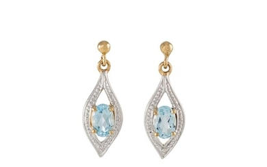 A PAIR OF AQUAMARING DROP EARRINGS, set with a diamond point...
