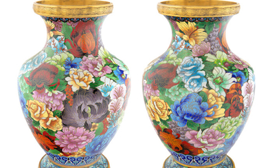 A PAIR OF CHINESE GILT BRONZE AND SHADED CLOISONNE ENAMEL VASES, EARLY 20TH CENTURY