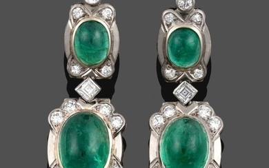 A Pair of Emerald and Diamond Drop Earrings, a round...