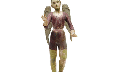 A Polychromed Carved Wood Figure of an Archangel