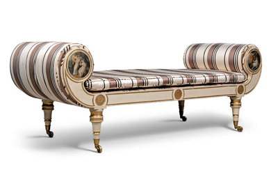 A REGENCY PARCEL-GILT AND CREAM-PAINTED DAYBED