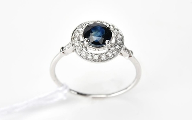 A SAPPHIRE AND DIAMOND CLUSTER RING IN 18CT WHITE GOLD, SAPPHIRE OF 0.99CTS, APPROXIMATE TOTAL DIAMOND WEIGHT 0.23CTS, SIZE M
