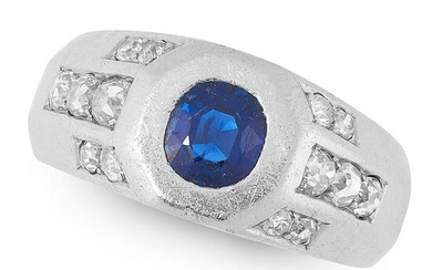 A SAPPHIRE AND DIAMOND DRESS RING, CIRCA 1940 in