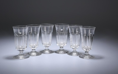 A SET OF SIX 19TH CENTURY SLICE-CUT PORT GLASSES, with