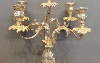 A Silver Plated Five Branch Candelabrum with shaped base and...