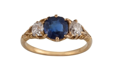A VICTORIAN THREE STONE SAPPHIRE AND DIAMOND RING, sapphire ...