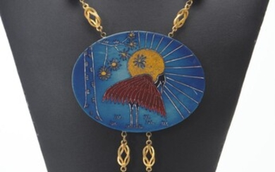 A VINTAGE NECKLACE WITH LARGE HAND PAINTED PLAQUES AND TASSELS IN THE JAPANESE STYLE