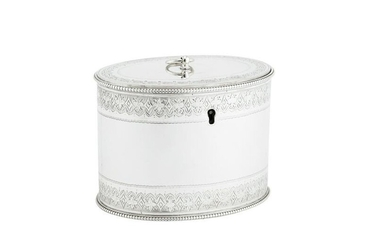 A Victorian sterling silver tea caddy, London 1861 by