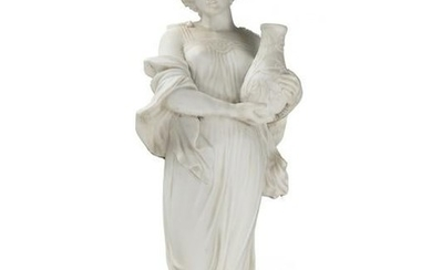 A carved white marble garden sculpture of a woman