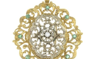A diamond and emerald pendant. May also be worn as a