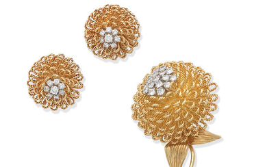 A diamond flower brooch and earclip suite,