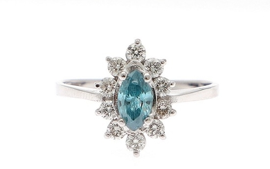 A diamond ring set with a marquise-cut blue diamond encircled by ten brilliant-cut diamonds, mounted in 14k white gold. Size 55.5.