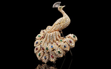 A diamond, sapphire, ruby and emerald peacock brooch by Cartier