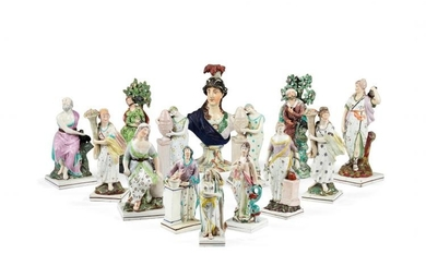 A group of fourteen Staffordshire pearlware figures, late 18th/early 19th centuries