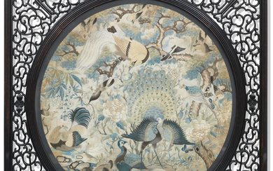 A hardwood screen with silk embroidered panel of birds