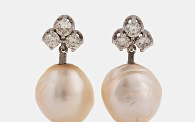 A pair of 18K white gold and cultured pearl earrings set with round brilliant-cut diamonds