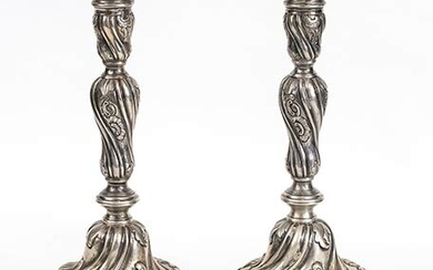 A pair of Italian silver candlesticks - Genoa, probably 1777...