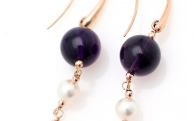 A pair of amethyst, pearl and rose quartz ear pendants each set with an amethyst, a cultured fresh water pearl, rose quartz, mounted in 18k rose gold. (2)