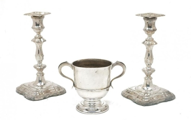 A pair of silver baluster candlesticks, Sheffield,...
