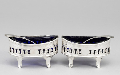 A pair of silver salt cellars, mark of H