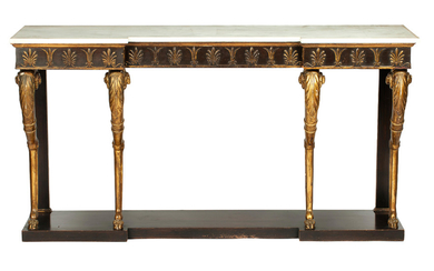 A parcel gilt, simulated rosewood inverted breakfront console table, in the manner of Thomas Hope, 20th century