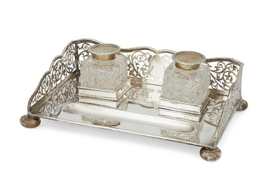 A pierced silver inkstand with squared cut...