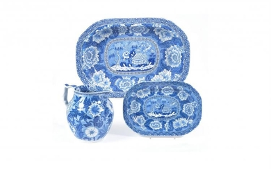 A selection of Adams blue and white printed pearlware