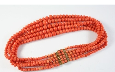AN ANTIQUE FIVE ROW GRADUATED CORAL BEAD NECKLACE the coral ...