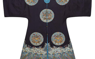AN IMPERIAL MIDNIGHT-BLUE EMBROIDERED WOMAN'S SURCOAT, LONGGUA
