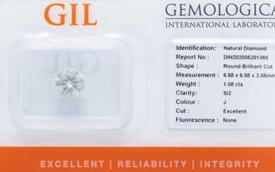 AN UNSET 1.08CT ROUND BRILLIANT CUT DIAMOND; 6.68 x 6.58 x 3.88mm with GIL report stating 1.08ct J/SI2, nil fluorescence, cut excell...