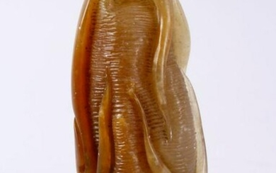 AN UNUSUAL SIGNED CHINESE CARVED JADE OR HARD STONE