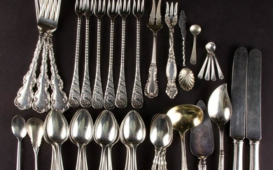 ASSORTED STERLING SILVER AND SILVER-PLATED FLATWARE