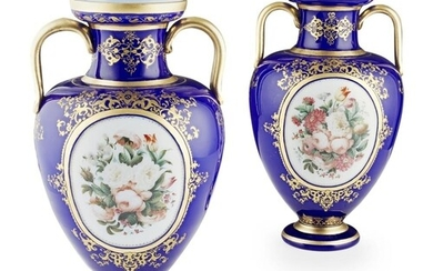 ATTRIBUTED TO BACCARAT, A PAIR OF BLUE GROUND OPALINE GLASS ...