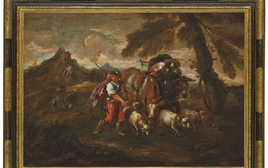 ATTRIBUTED TO GIOVANNI FRANCESCO CASTIGLIONE (GENOA 1641-1710), An extensive landscape with travellers