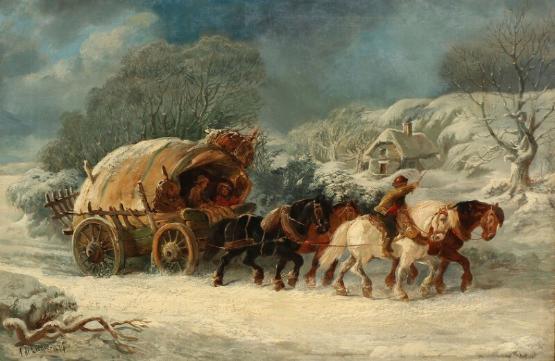 Alexis de Leeuw: A horse-drawn carriage making its way through a snow-covered landscape. Signed and dated A. de Leeuw 1874. Oil on canvas. 61×91 cm.