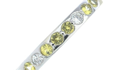 An 18ct gold yellow sapphire and brilliant-cut diamond