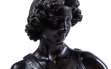 """An Italian patinated bronze bust of """"David"""", 19th..."""
