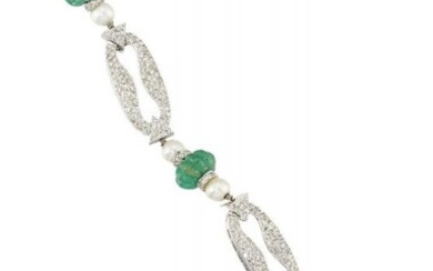 An emerald, diamond and cultured pearl bracelet,...