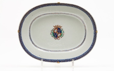 An oval serving tray