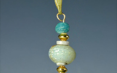 Ancient Roman Glass Pendant with turquoise and rare large beads - (1)