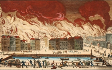 Andreas Flint (after C. F. Stanley): The Copenhagen Fire of 1795. Inscribed in print A. Flint Sc. Hand-coloured engraving. Plate size 27×42 cm.