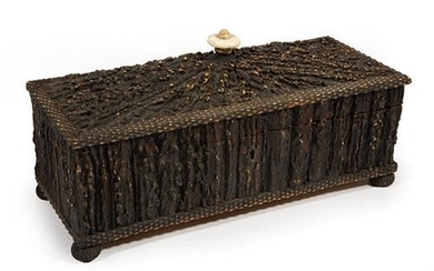 Anglo-Indian Carved Staghorn Glove Box