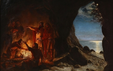 Anker Lund: View from a cave with a group of vikings gathering around the fire. Signed and dated Anker Lund 1874. Oil on canvas. 67×94 cm.