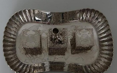 Antique 19th Century Victorian Sterling Silver Inkstand