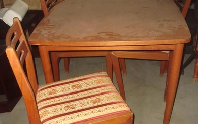 Art Deco Solid Wood Kitchen Table with 6 Upholstered Chairs