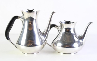 Art Deco Style Silver Plated Tea And Coffee Pots (Denmark Cohr)